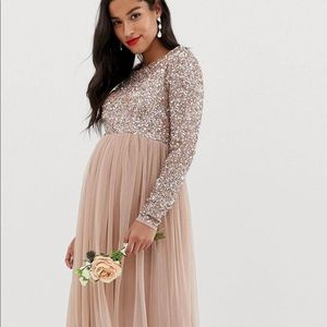 ASOS maternity long sleeve gown